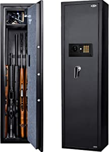 Moutec Large Electronic Rifle Safe, Quick Access 5-Gun Large Metal Rifle Gun Security Cabinet (with/Without Scope) with Separate Pistol/Handgun Lock Box