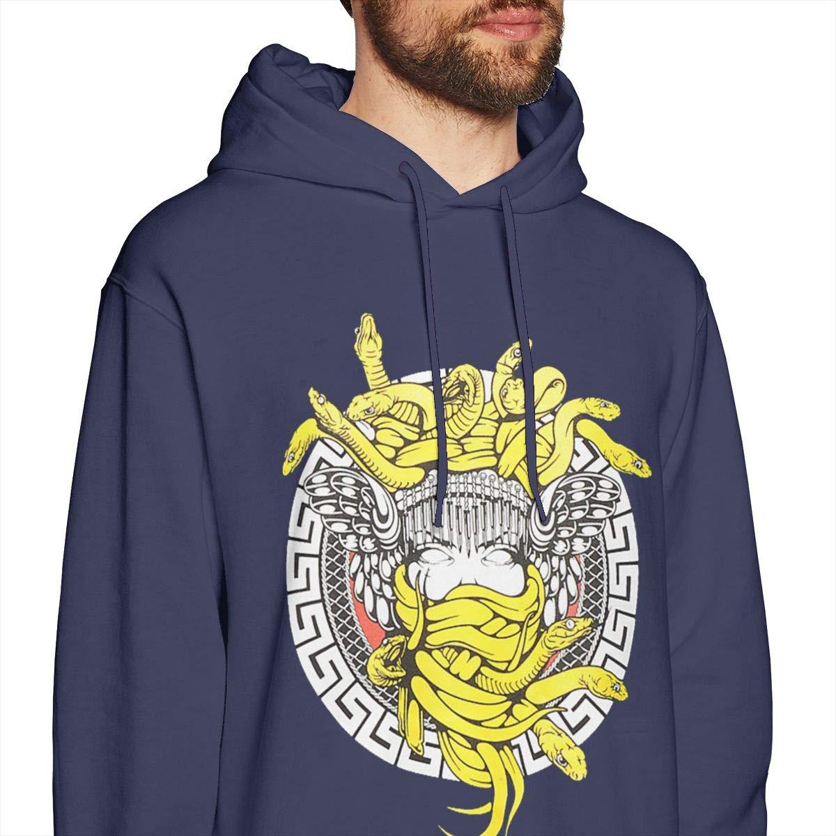GRaconndeg Mens Crooks and Castles Medusa Trend Navy Hoodie Sweatshirt Jacket Pullover Tops