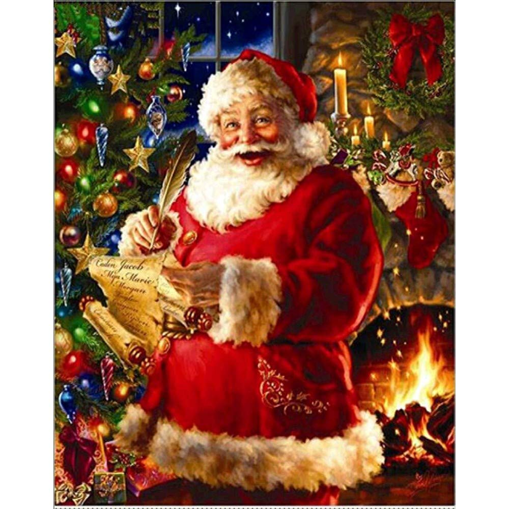 DIY 5D Diamond Painting by Number Kits,Pollyhb Full Drill Crystal Rhinestone Diamond Embroidery Paintings Pictures Arts Craft for Home Wall Decor,Elk Merry Christmas Cottage Santa Claus