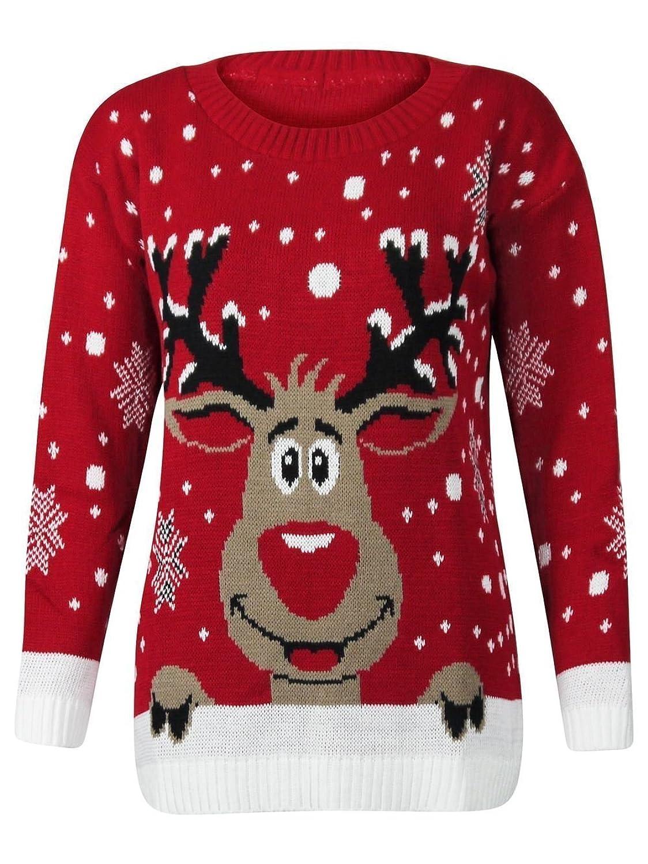 Amazon.com: Forever Womens Rudolph Reindeer Print Snowflake ...