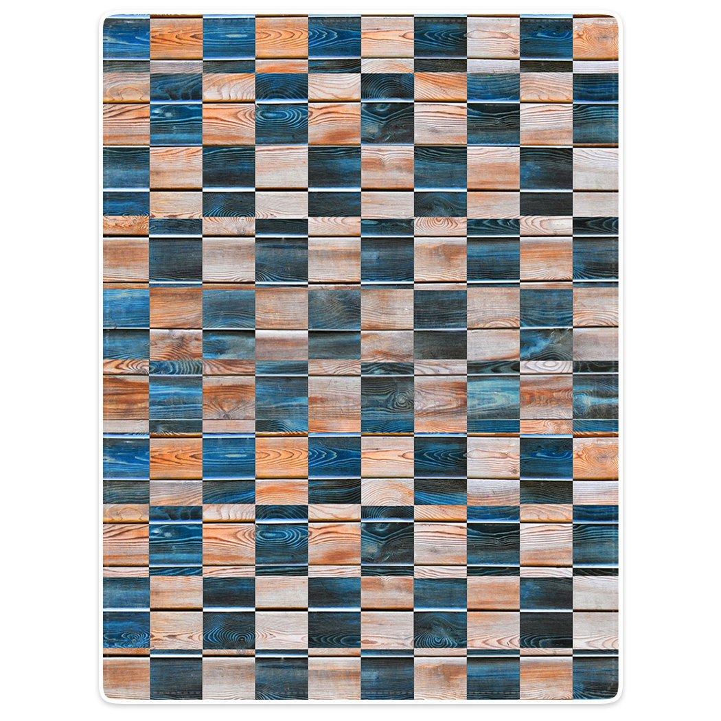 Blanket Sofa Bed Throw Lightweight Cozy Plush Square Pattern Wood Grain 60''x80''