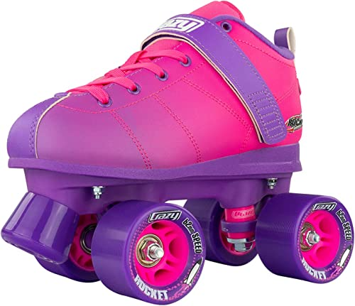 Crazy Skates Rocket Roller Skates - Quad Skates for Women - Pink and Purple