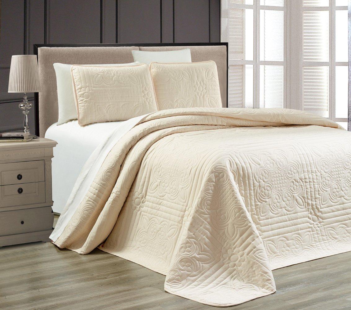 3-Piece IVORY / ECRU Oversize ''Stella Grande'' Bedspread KING / CAL KING Embossed Coverlet set 118 by 106-Inch