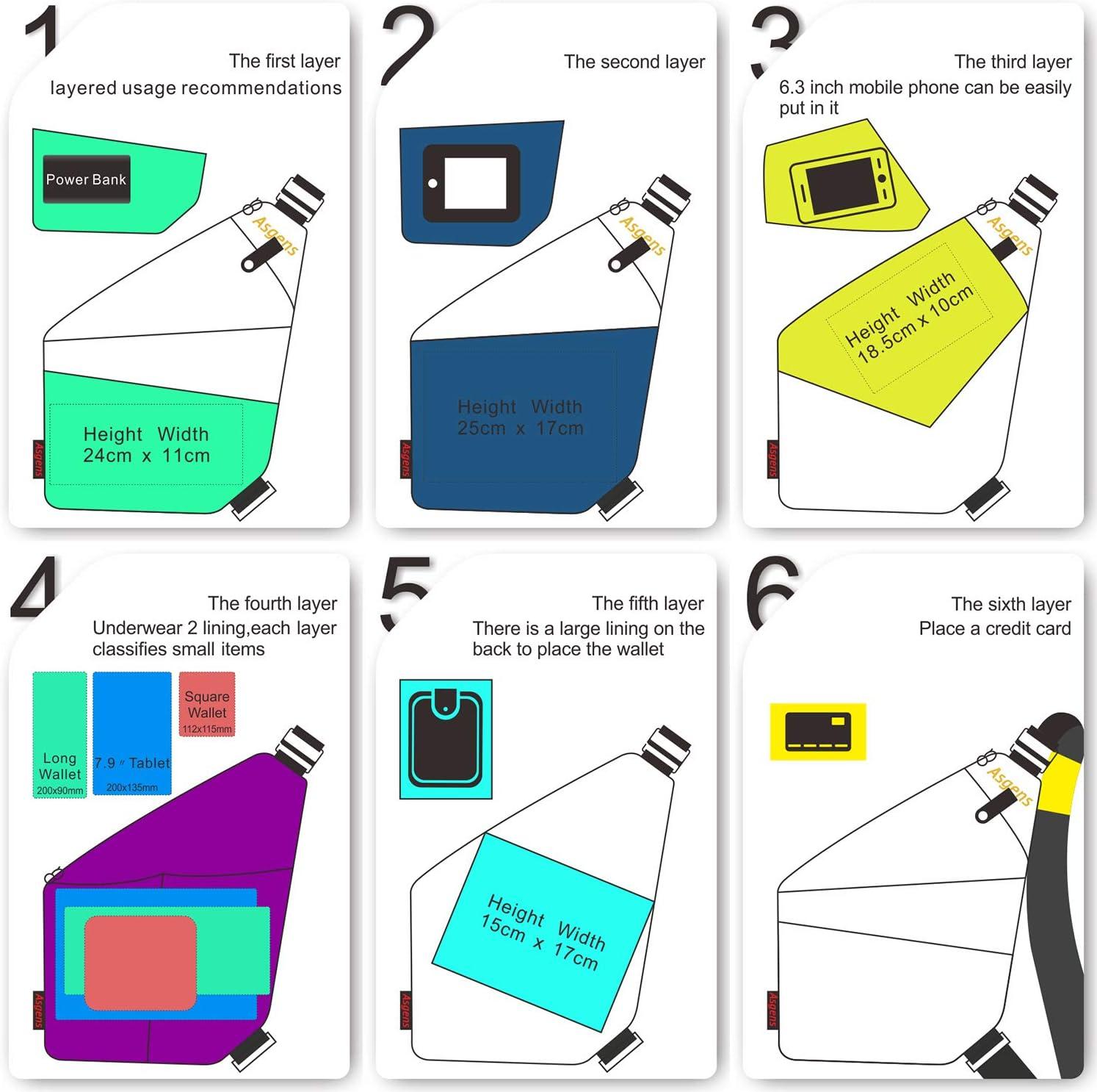 Gris//Pour G Asgens Multi-usage anti-vol Sac de s/écurit/é cach/é Sous-bras Soutien-gorge /à /épaule Messenger Bag Sports Sac /à poitrine Sac /à dos portatif pour t/él/éphone Money Passport Tactical Bag