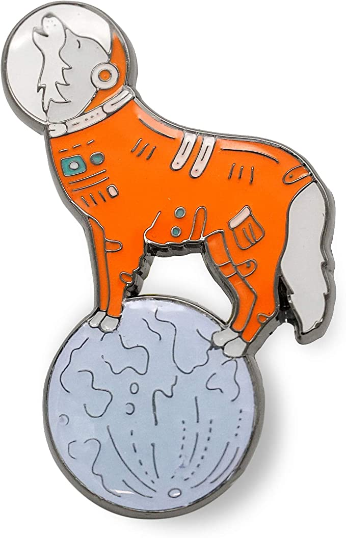 Compoco Dinosaur Lapel Pin Space Astronaut Suit Moon Shaped Holding a Star