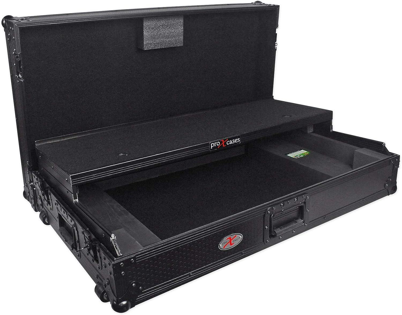 ProX XS-DDJSZWLTBL Black Pioneer DDJ-SZ Hard Case W//Gliding Laptop Shelf+Wheels