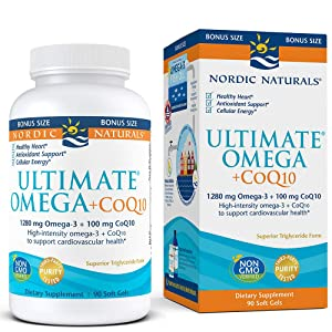 Nordic Naturals Ultimate Omega with CoQ10 - Soft Gels to Support Overall Heart Health and Energy Needs*, 90 Count