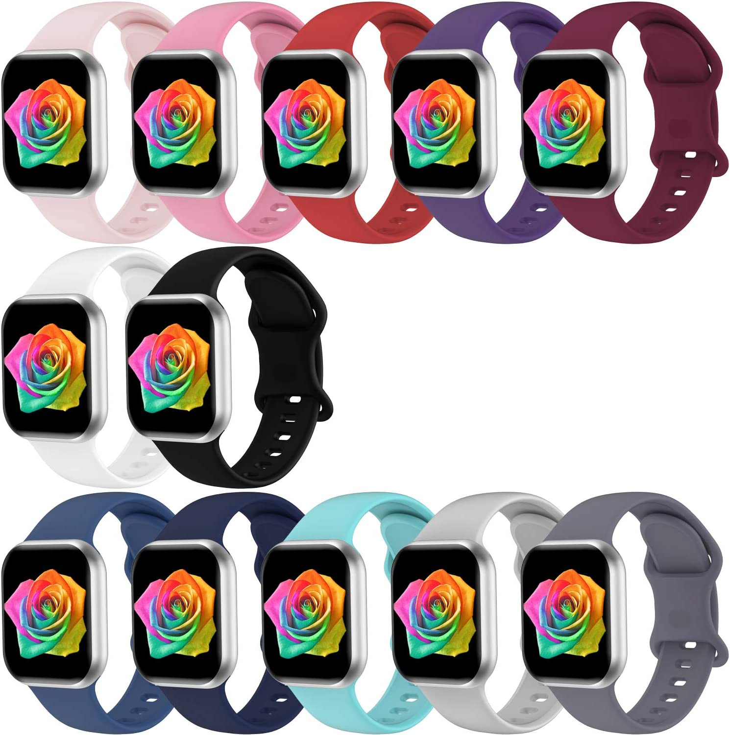 Bravely klimbing Compatible with App le Watch Bands 38mm 40mm 42mm 44mm, Soft Silicone Sport Replacement Strap Women Men Compatible with iWatch Series 6, Series 3, Series 5 4 3 2 1 SE