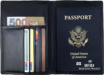White German Shepherd Protective Premium Leather RFID Blocking Wallet Case for Passport Passport Holder Case