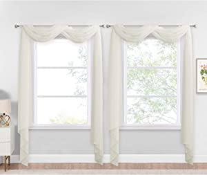 """NICETOWN Sheer Textured Scarf Valances for Windows, 216"""" Extra Long Window Dressings for Anniversary / Wedding Design, 60"""" Wide, 2 Pieces, Off White"""