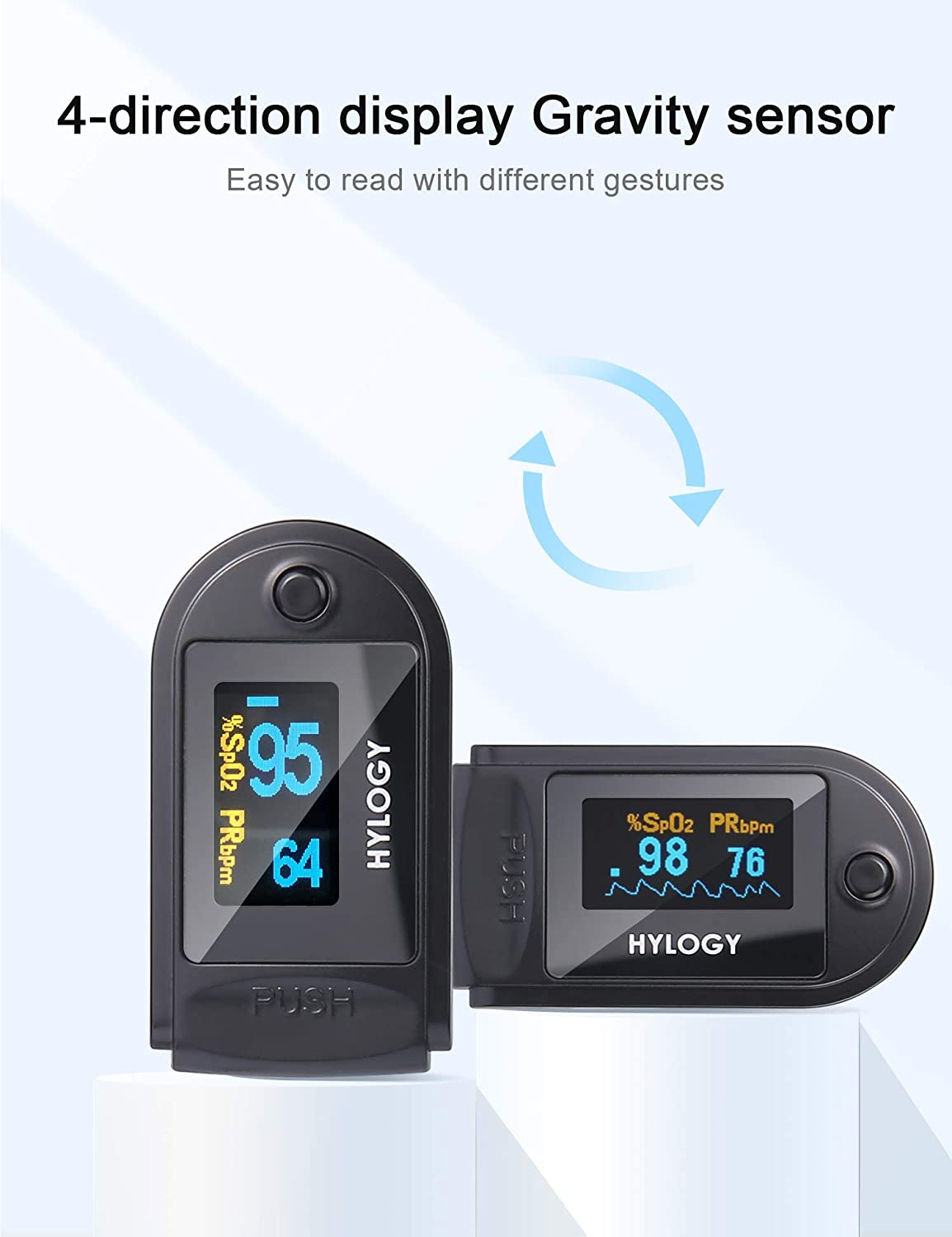 HYLOGY Finger Saturation Sensor Oxygen Pulse Heart Rate Monitor with OLED Display