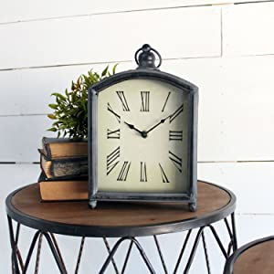 Foreside Home & Garden Rustic Distressed Metal Battery Operated Table Clock