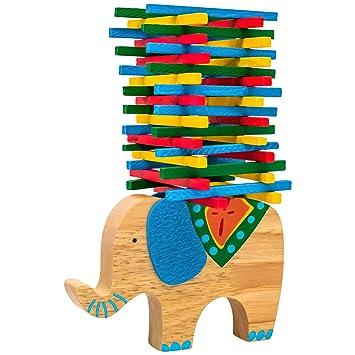 Natureich Elefant Montessori Stapel Spielzeug aus Holz zum Geschicklichkeit Lern Holzspielzeug