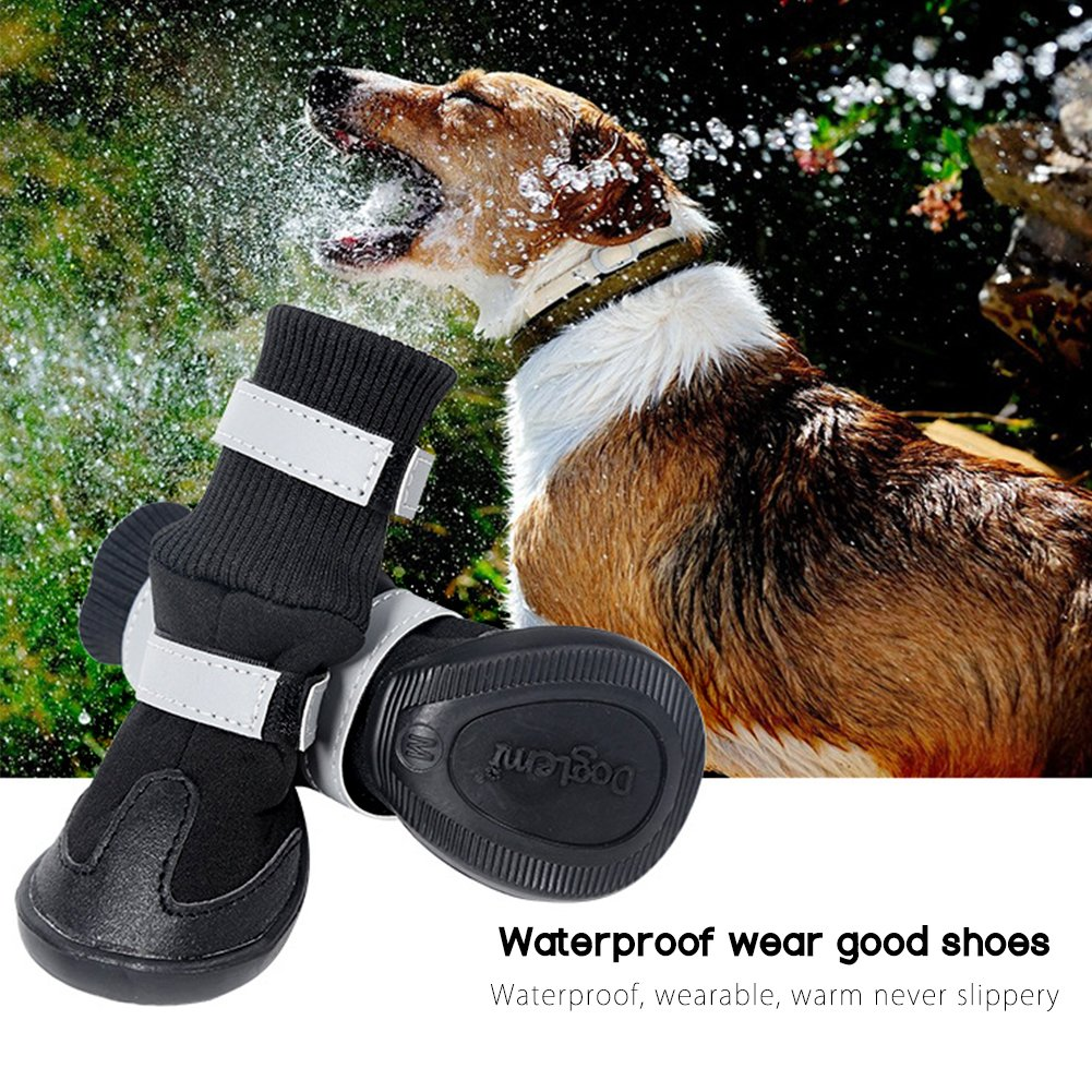 BESAZW Dog Boots for Dogs Pet Waterproof Durable Shoes with Reflective Velcro Soft Warm Paw Protectors for Large Dogs 4 Pcs Set,Black XL