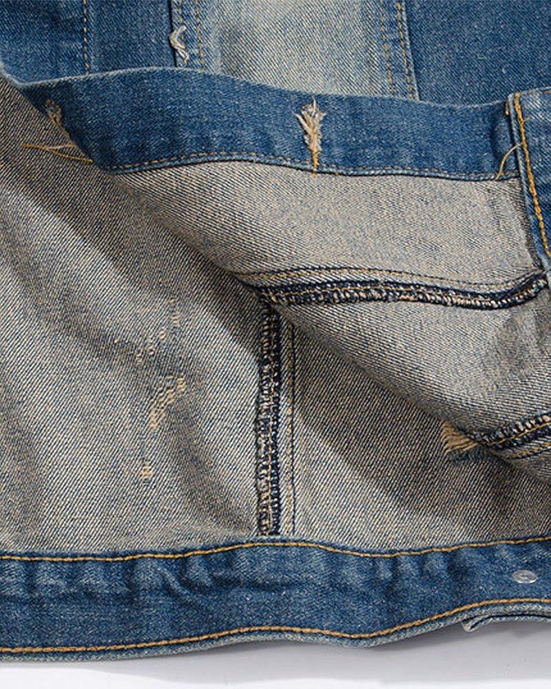 Giacca Denim Uomo Retro Leisure Cappotto Jeans Senza Maniche Giacca Giubbotto