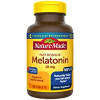 Nature Made Fast Dissolve Melatonin 10 mg Tablets, 300 Count for More Restful Sleep...