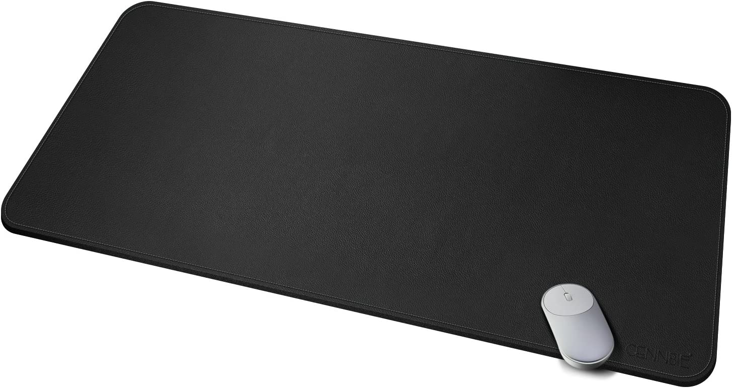 """CENNBIE Leather Smooth Desk Mat Pad Blotter Protector, Extended Non-Slip Rectangular, Laptop Keyboard Mouse Pad 39.3"""" x 19.6""""(Black)"""