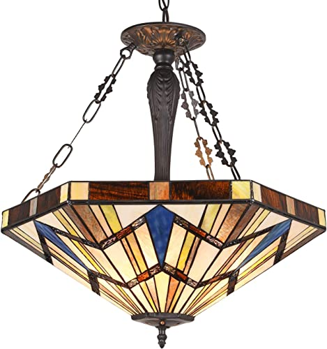 Capulina Tiffany Dining Table Lights, 3-Light Hanging Tiffany Style Lamp, 22.7 Inch Wide Stained Glass Dining Room Lights, Mission Style Tiffany Hanging Light, Inverted Ceiling Light for Living Room