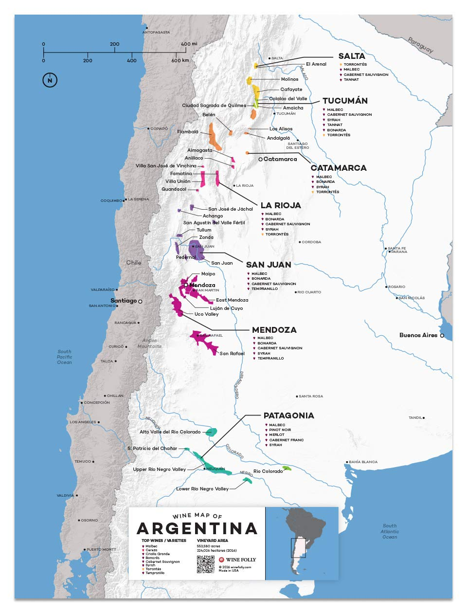 wine folly argentina wine map poster