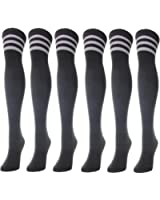 J.Ann 6-Pair / Pack Ladies Solid Color Over-Knee-High Socks Combo, Sock Size:9-11
