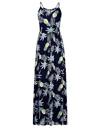 75f13b24e2 Clearlove Women's Cami Slip Strap Beach Wear Empire Maxi Long Dress  (Ananas, ...