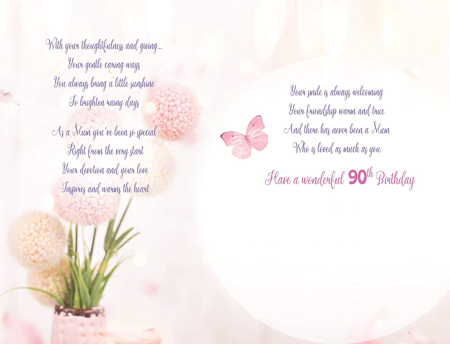 With Love Mum On Your 90th Birthday Card Lovely Verse