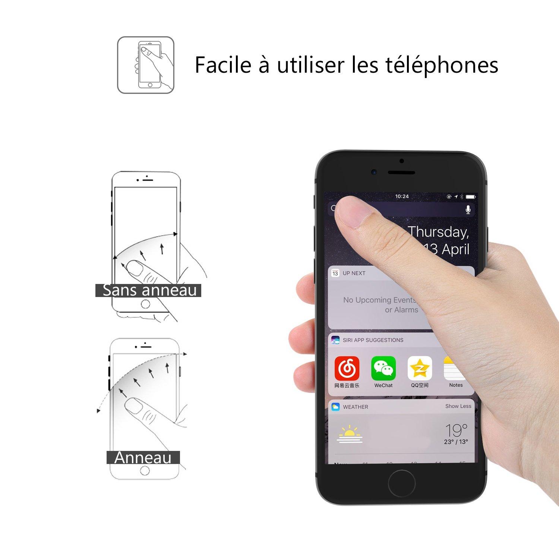 Velagol Anneau Support Téléphone Universel Bague Plane en Métal Porte Anneau Telephone Métallique Avec une Rotation de 360 Degrés Portable Bague Support Multi-Fonctionnel Pour iPhone6/6s/7 Samsung Galaxy S8 (Noir)
