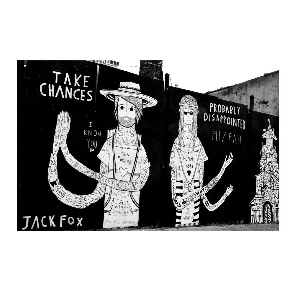 特大ウォールステッカー ストリートアート 落書き モノクロ 男性 壁画 写真 ポスター 絵画 シール スプレーアート MU3アクセント壁紙 B01GAAP2FG