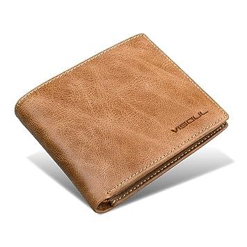 45aff133aa02 Amazon.co.jp: メンズ 二つ折り財布 VISOUL® 本革 財布 超薄型 大容量 ...