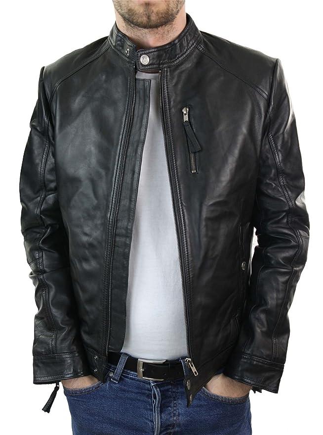 e2c425f78 Aviatrix Mens Real Leather Biker Jacket Black Brown Zipped Tailored ...