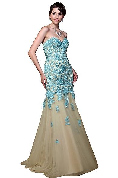 Amazon.com: Gorgeous Strapless Lace Applique Prom Gown Graduation ...