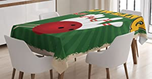 Ambesonne Vintage Tablecloth, Bowling Balls and Pins Design Western Sport Hobby Leisure Winner Art Print, Rectangular Table Cover for Dining Room Kitchen Decor, 60