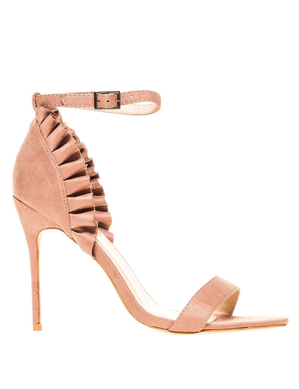 PUBLIC DESIRE Heeled Damens's Glory Frill Heeled DESIRE Sandales Pink 15d599