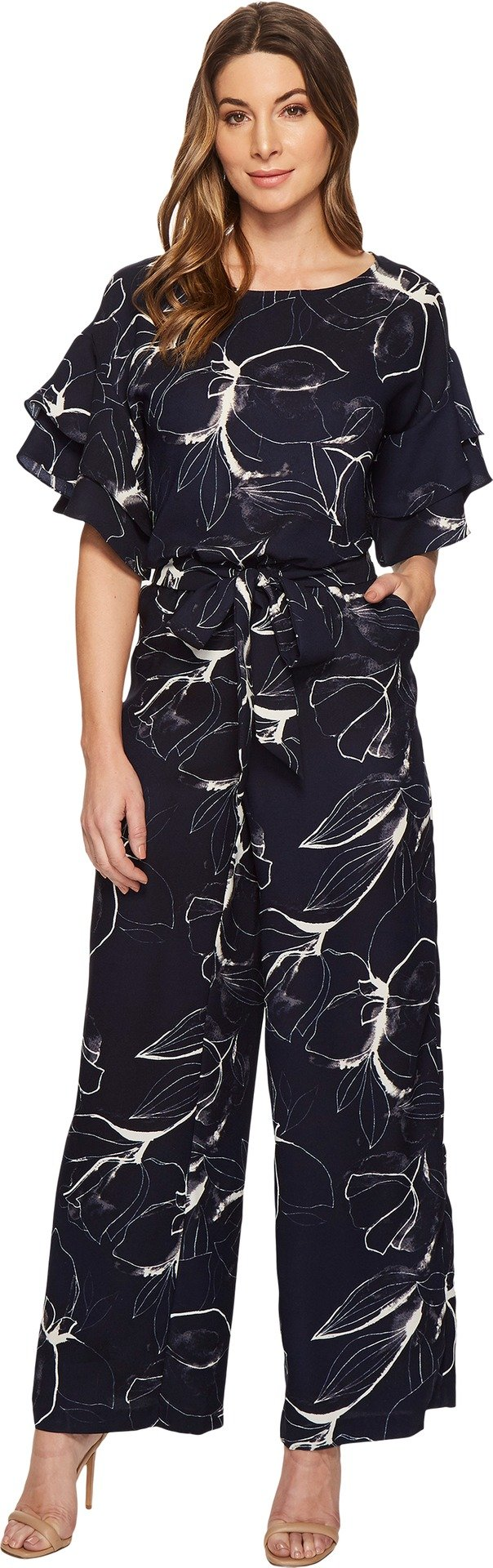 Vince Camuto Womens Ruffle Sleeve Fresco Petals Belted Jumpsuit Night Sky MD One Size