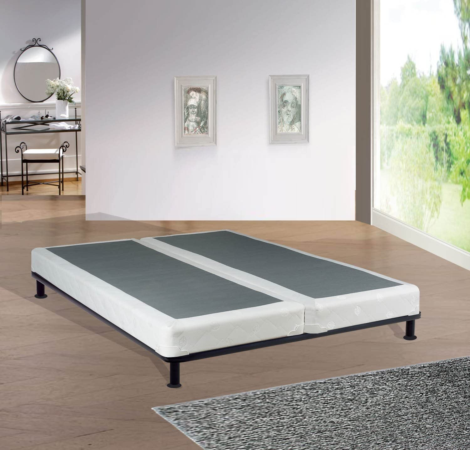 Spinal Solution, 4 inch Strong and Sturdy Assembled Traditional Wood Box Spring Foundation for Mattress