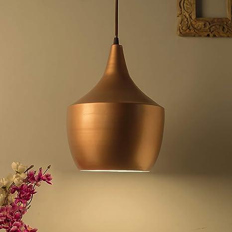 Homesake Copper Metal Modern Hanging Light Rose Gold E26 27 Nordic Pendant Lamp Pear Shaped Kitchen Bedroom Living Room Ceiling Lamp