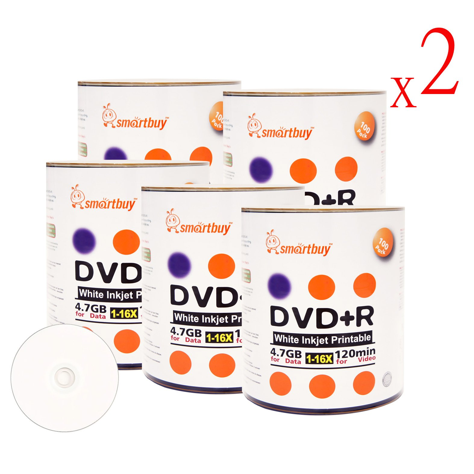 Smart Buy 1000 Pack DVD+R 4.7gb 16x White Printable Inkjet Blank Media Record Disc, 1000 Disc 1000pk