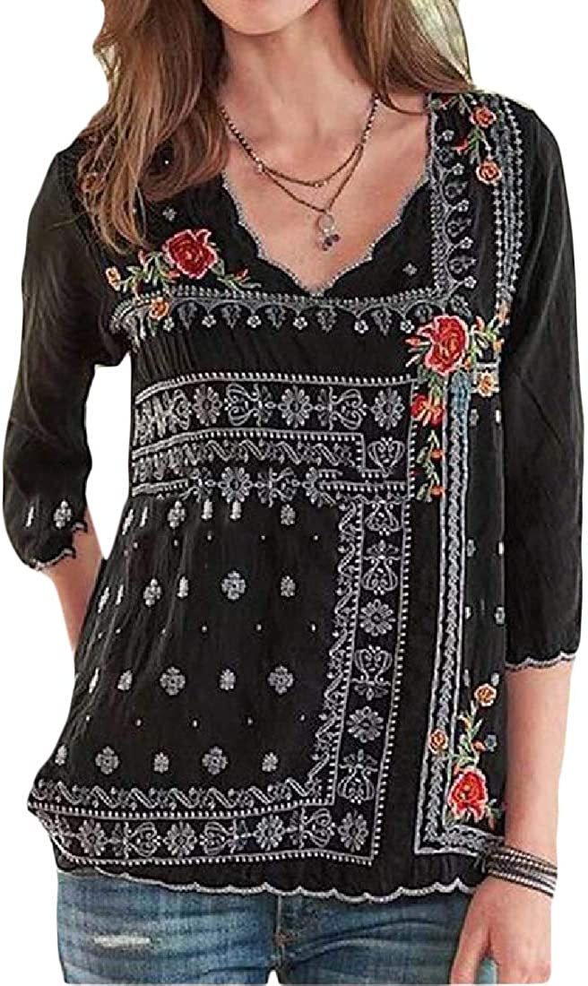 UUYUK Women V-Neck Floral Print Embroidery 3//4 Sleeve Fashion Blouse Top T-Shirt