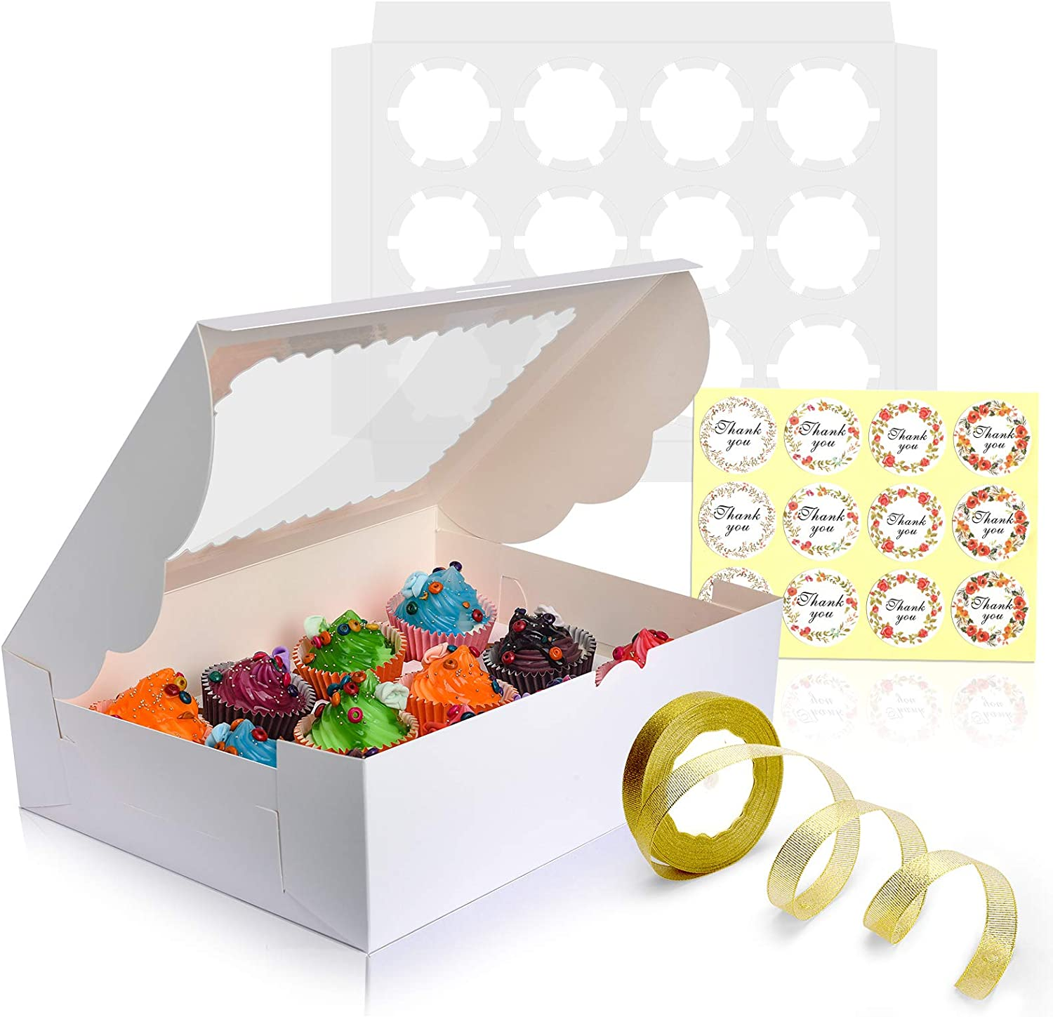 JUVI 12-Set Cupcake Boxes Hold 12 Standard Cupcakes,Dozen White Food Grade Cupcake Containers,Disposable Cardboard Cookie Carrier,Bakery Gift Boxes,Large Window Holiday Holders for Treats and Pastries