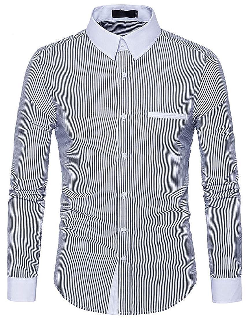 AbePa Mens Simple Long Sleeve Classic Version Business Lapel Stripe Shirt