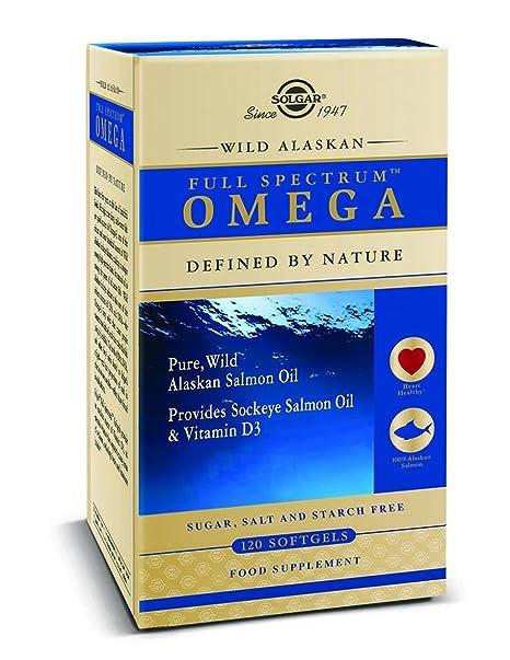 Solgar Full SpectrumTM Omega. 100% Aceite puro de salmón salvaje de Alaska que proporciona