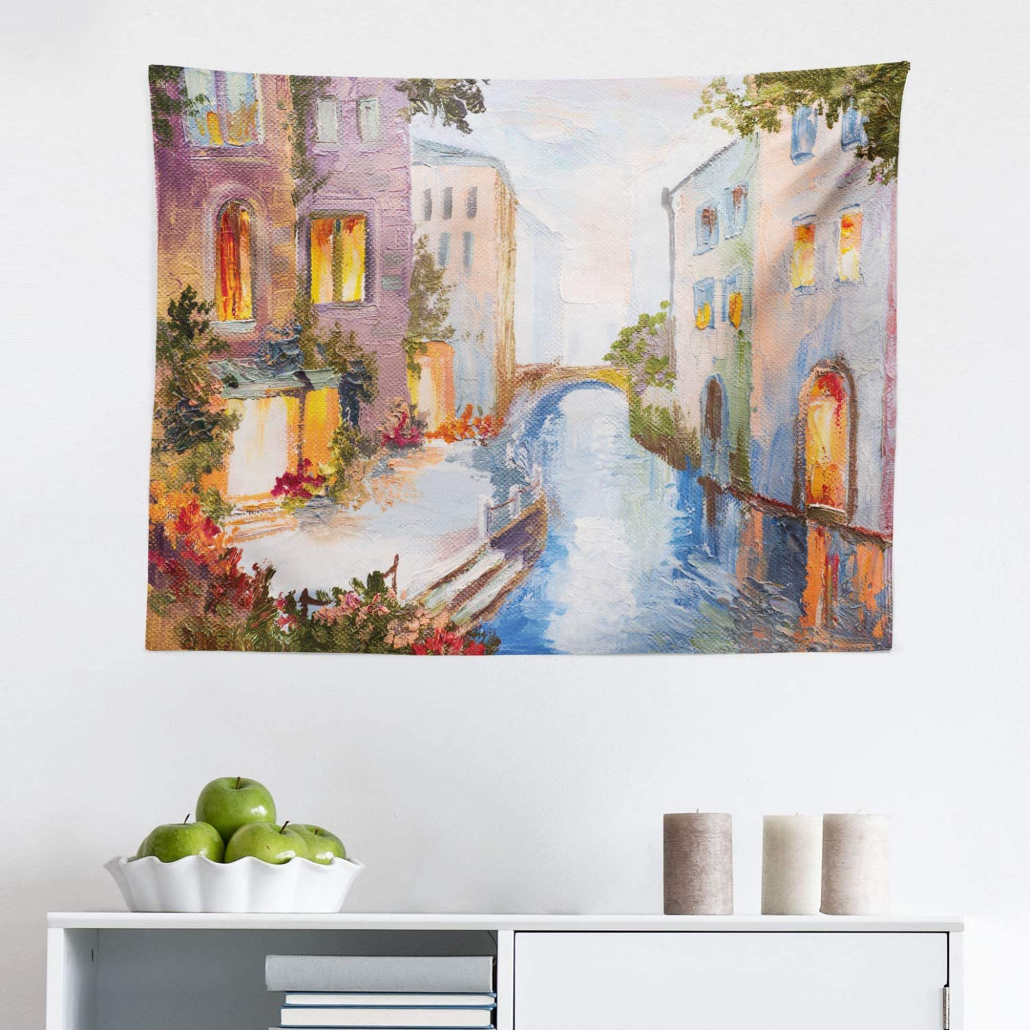 """Lunarable Venice Tapestry, Historical City Vintage Houses Water Canal Venice Italy Oil Painting, Fabric Wall Hanging Decor for Bedroom Living Room Dorm, 28"""" X 23"""", Orange Ivory"""