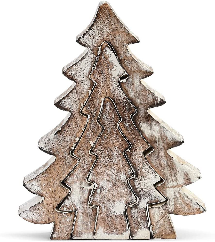 DEMDACO Nesting Trees Whitewashed 8 x 6 Mango Wood Holiday Collectible Figurine