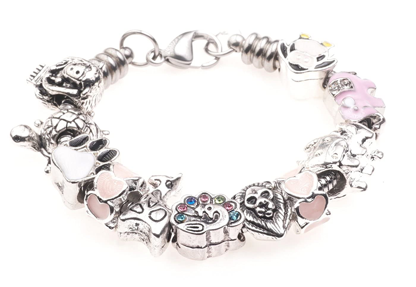 'Monkey Business' Animal Zoo Themed Childrens Charm Bracelet with Gift Box Girls Jewellery Jewellery Hut BRkidsZoo