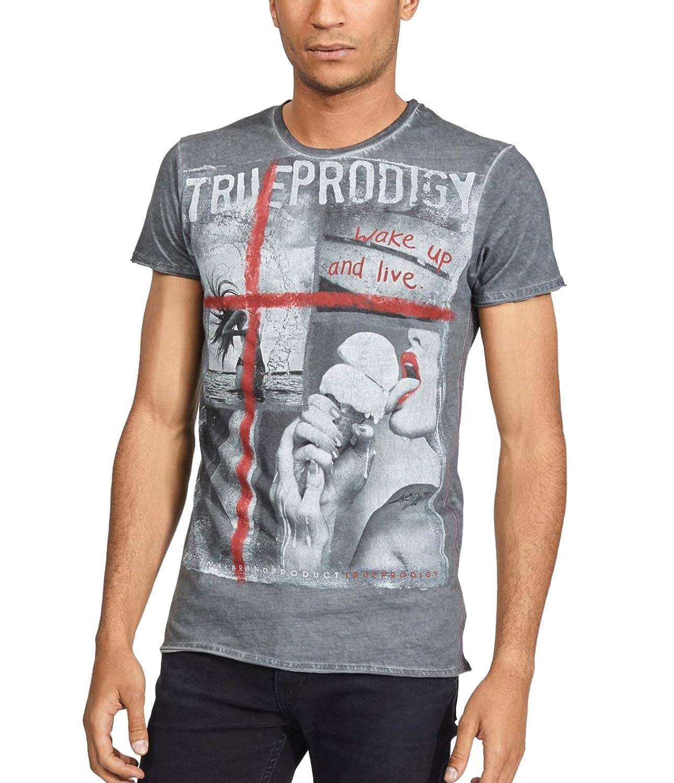 Trueprodigy Casual Homme Tee Shirt Motif imprimé, Vetements Swag Marque col  Rond (Manche Courte   Slim fit Classic), t-Shirt Mode Fashion Couleur  Gris  ... 5d6ecf0cf43e