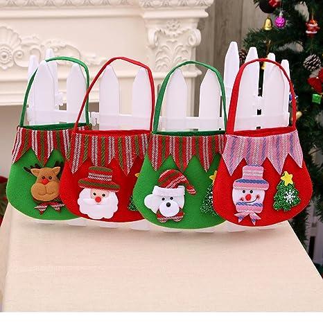 Bolsas de regalo de Navidad, 4 piezas de Santa Claus árbol de Navidad Patrón de alces Bolsos de caramelo, adornos colgantes Saco de regalo para ...