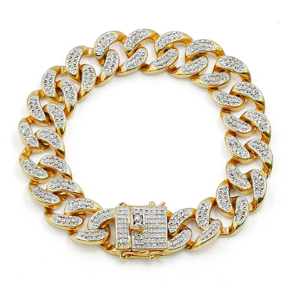 JINAO 14mm 18k Gold Plated All ICED Out Simulated Diamond Miami Cuban Chain Bracelet 8'' (Gold)