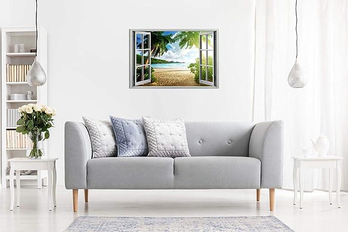 Amazon.com: Lienzo decorativo con efecto de ventana en 3D ...