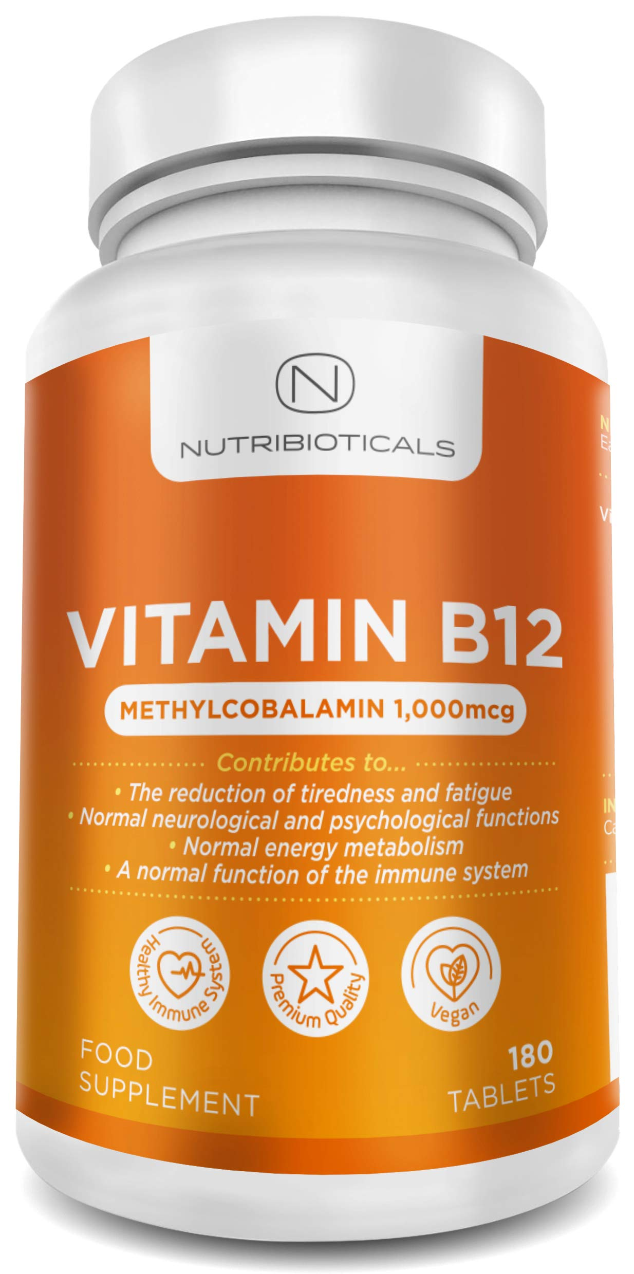 """Vitamin B12 Methylcobalamin 1000mcg 180 Tablets (6 Month Supply)   Reduction of tiredness and fatigue & normal function of the immune system - AMAZON'S CHOICE for """"Vitamin B12"""" product image"""