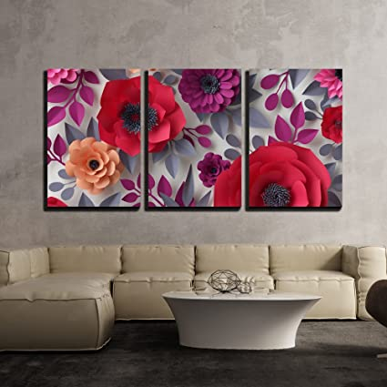 Wall26 3 Piece Canvas Wall Art Illustration 3d Render Digital Illustration Red Pink Paper Flowers Bridal Bouquet Modern Home Decor